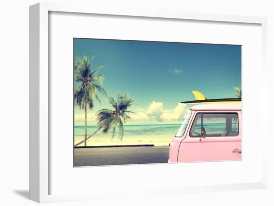 Vintage Car in the Beach with a Surfboard on the Roof-jakkapan-Framed Photographic Print