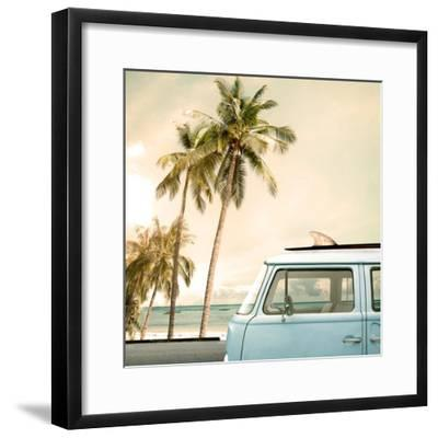 Vintage Car Parked on the Tropical Beach (Seaside) with a Surfboard on the Roof-jakkapan-Framed Photographic Print