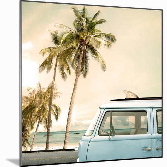 Vintage Car Parked on the Tropical Beach (Seaside) with a Surfboard on the Roof-jakkapan-Mounted Photographic Print