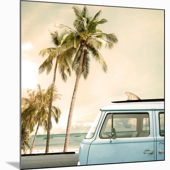 Vintage Car Parked on the Tropical Beach (Seaside) with a Surfboard on the Roof-jakkapan-Mounted Giclee Print