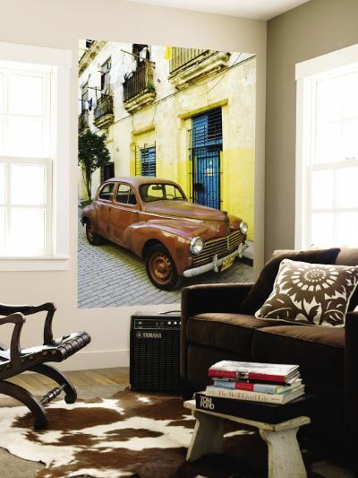 Vintage Car Parked Outside House in Vieja District-Christian Aslund-Wall Mural
