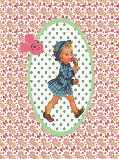 Vintage Card Girl with Ice Cream-Effie Zafiropoulou-Giclee Print