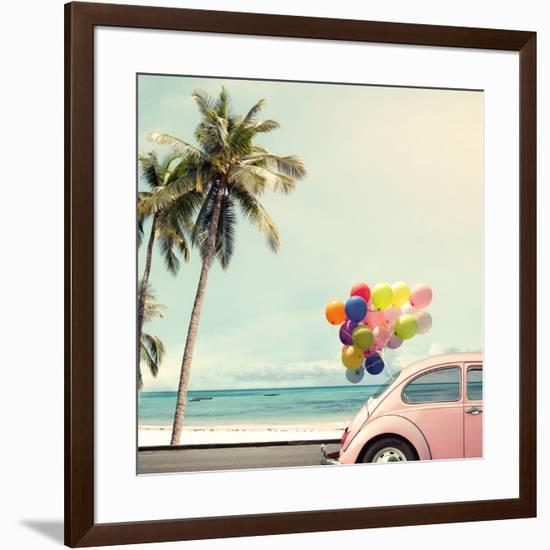Vintage Card of Car with Colorful Balloon on Beach Blue Sky Concept of Love in Summer and Wedding H-jakkapan-Framed Photographic Print