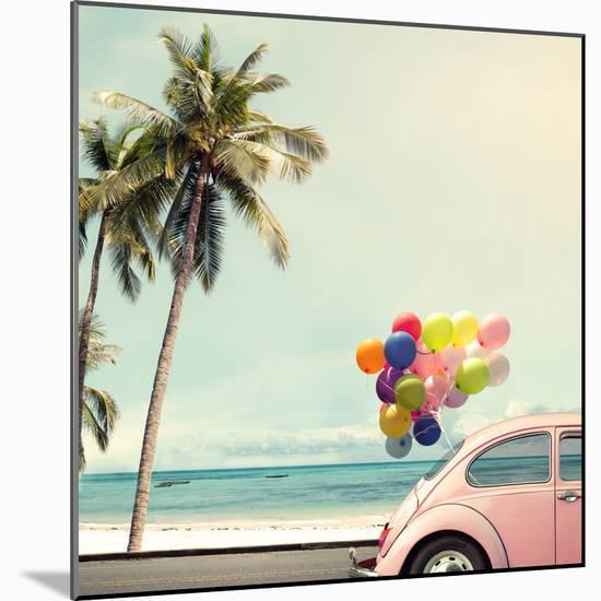 Vintage Card of Car with Colorful Balloon on Beach Blue Sky Concept of Love in Summer and Wedding H-jakkapan-Mounted Photographic Print