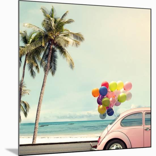 Vintage Card of Car with Colorful Balloon on Beach Blue Sky Concept of Love in Summer and Wedding H-jakkapan-Mounted Giclee Print