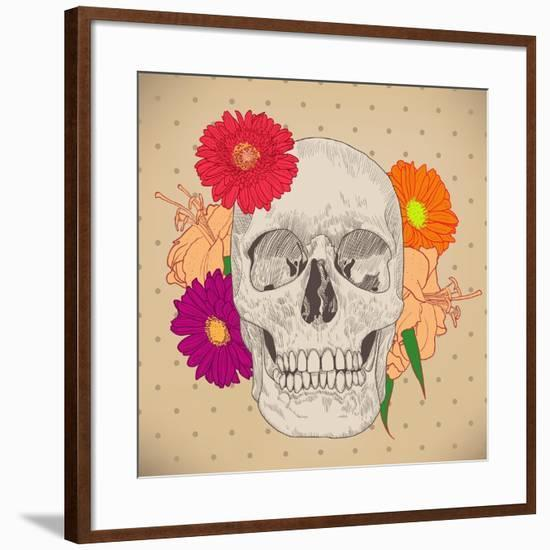 Vintage Card with Skull and Flowers on Beige Background. Day of the Death. Colorful Vector Illustra-golubok-Framed Art Print
