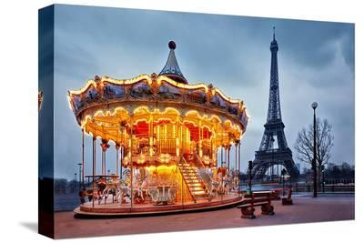 Vintage Carousel Eiffel Tower--Stretched Canvas Print