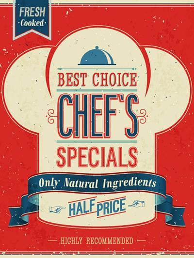 Vintage Chef`S Specials Poster-avean-Art Print