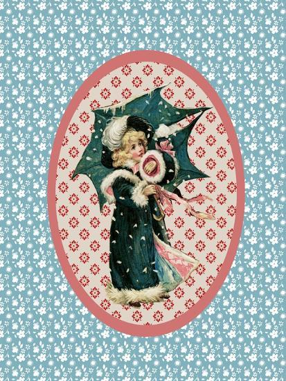 Vintage Christmas Card Girl with Umbrella 2-Effie Zafiropoulou-Giclee Print