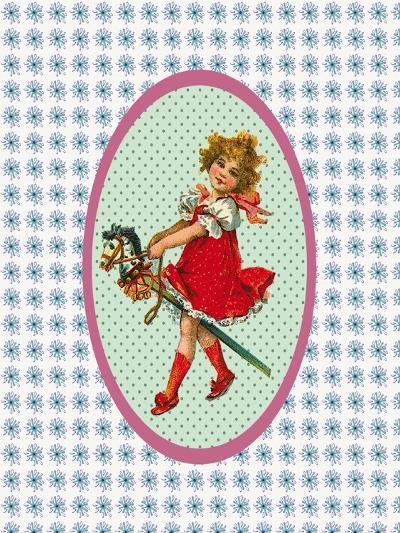 Vintage Christmas Girl with Hobby Horse-Effie Zafiropoulou-Giclee Print