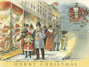 Vintage Christmas Shopping Scene