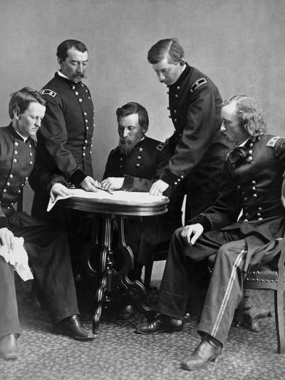Vintage Civil War Photograph of General Philip Sheridan and His Staff-Stocktrek Images-Photographic Print