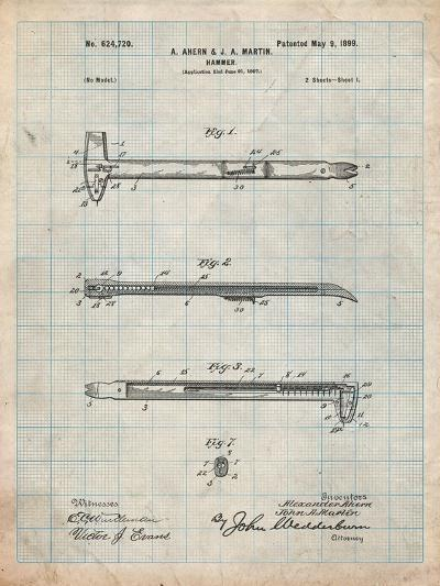 Vintage Claw Hammer Patent 1899-Cole Borders-Art Print
