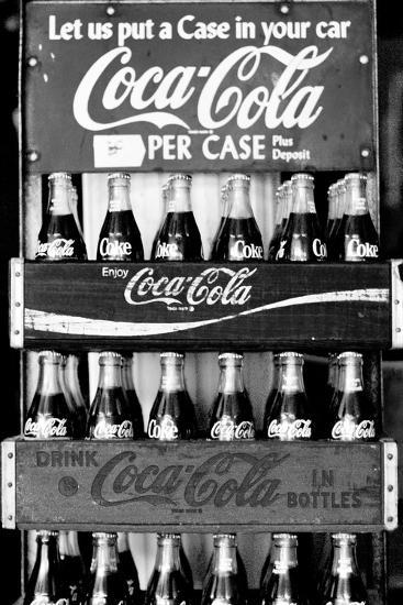 Vintage Coca Cola Bottle Cases Coke B&W Photo Print Poster--Art Print