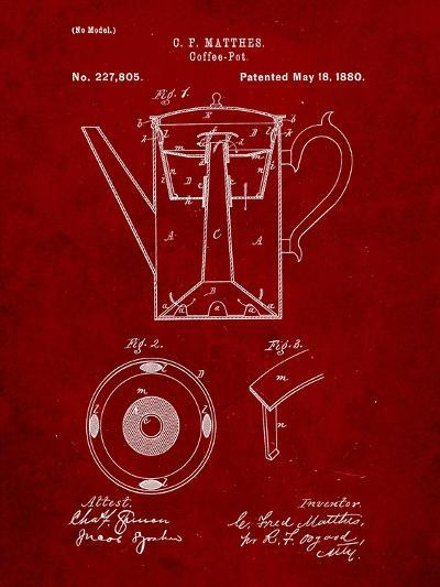Vintage Coffe Pot Patent-Cole Borders-Art Print