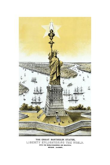 Vintage Color Architecture Print Featuring the Statue of Liberty--Art Print