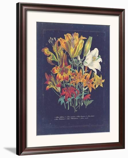 Vintage Dark Floral on Indigo I--Framed Art Print