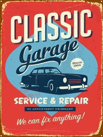 vintage design classic garage art print by real callahan. Black Bedroom Furniture Sets. Home Design Ideas