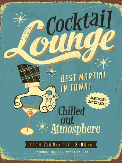 Vintage Design -  Cocktail Lounge-Real Callahan-Art Print
