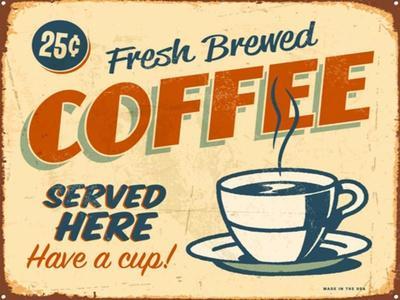 Vintage Design -  Fresh Brewed Coffee-Real Callahan-Art Print