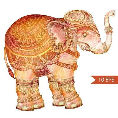 Vintage Elephant Illustration. Hand Draw Painted Ornament.Orient Traditional Ornament. Indian Style-polina lina-Art Print