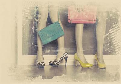 Vintage Fashion Pop of Color Heels and Handbags-Color Me Happy-Art Print