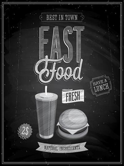 Vintage Fast Food Poster Chalkboard-avean-Art Print