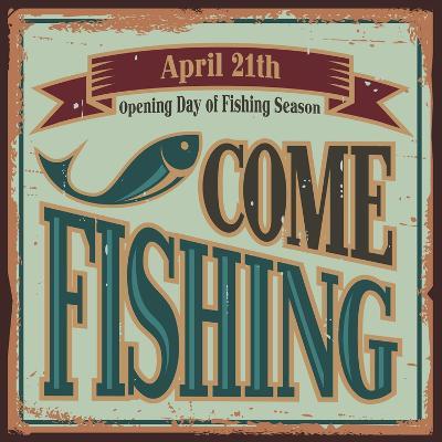 Vintage Fishing Metal Sign-Lukeruk-Art Print