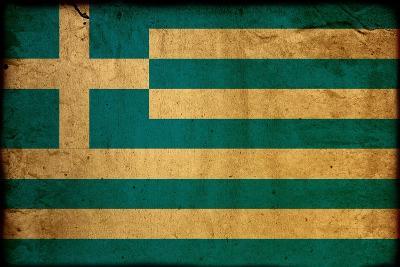 Vintage Flag Of Greece-ilolab-Art Print