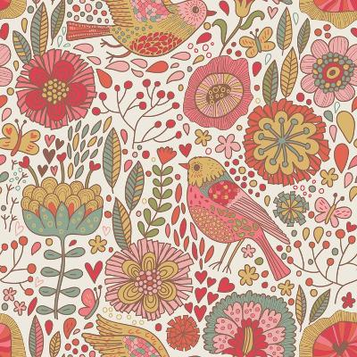 Vintage Floral Romantic Pattern-smilewithjul-Art Print