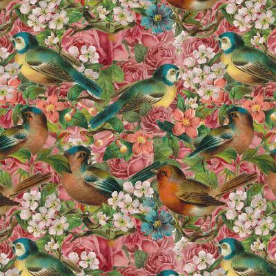 Vintage Flower Bird - Square-Lebens Art-Art Print