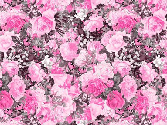 Vintage Flower Pink-Lebens Art-Art Print