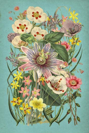 Vintage Flowers on Teal--Art Print