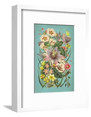 Vintage Flowers on Teal--Framed Premium Giclee Print