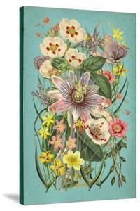 Vintage Flowers on Teal