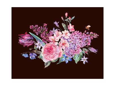 Vintage Garden Watercolor Spring Bouquet with Pink Flowers Blooming Branches of Peach, Pear, Lilacs-Varvara Kurakina-Art Print