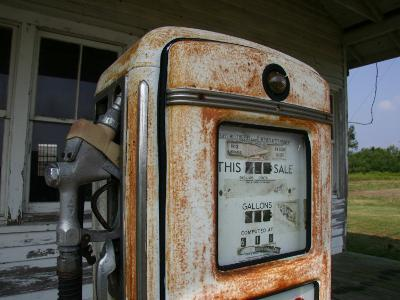 Vintage Gas Pump Recalls the Open American Road and Cheaper Prices-Stephen St^ John-Photographic Print
