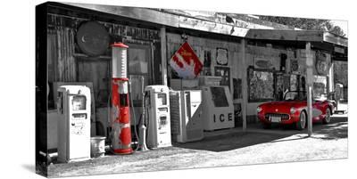 Vintage gas station on Route 66-Vadim Ratsenskiy-Stretched Canvas Print