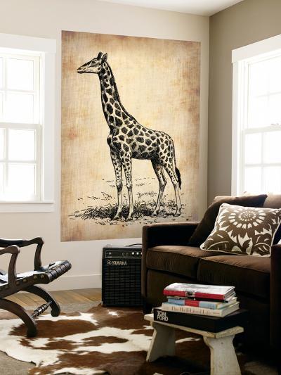 Vintage Giraffe-NaxArt-Wall Mural