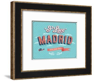 Vintage Greeting Card From Madrid - Spain-MiloArt-Framed Premium Giclee Print