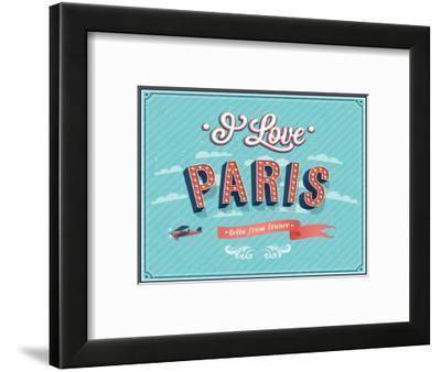 Vintage Greeting Card From Paris - France-MiloArt-Framed Premium Giclee Print
