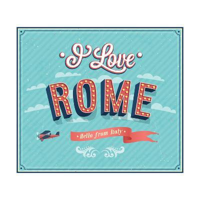 Vintage Greeting Card From Rome - Italy-MiloArt-Art Print