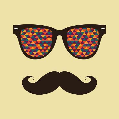 Vintage Hipster Background. Sunglasses and Mustache.-AnnaKukhmar-Art Print
