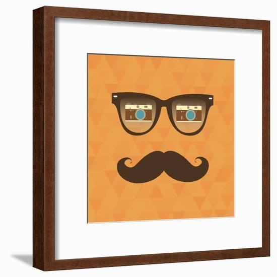 Vintage Hipster Background. Sunglasses Reflection Camera-AnnaKukhmar-Framed Art Print