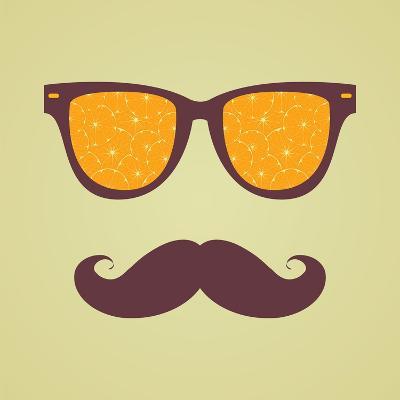 Vintage Hipster Background. Sunglasses Reflection Orange-AnnaKukhmar-Art Print