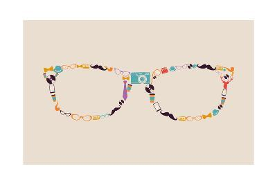Vintage Hipster Icon Glasses-cienpies-Art Print