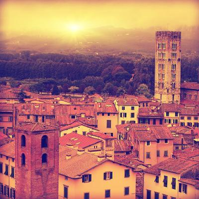 Vintage Image of Lucca at Sunset, Old Town in Tuscany.-Elenamiv-Photographic Print