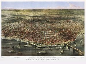 1874 City Of St. Louis By Currier and Ives by Vintage Lavoie