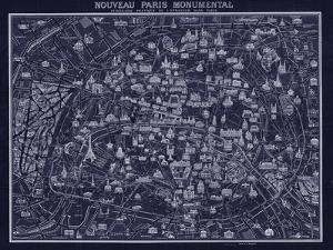 1920 Pocket Map of Paris Blueprint style by Vintage Lavoie