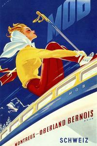 1940s Swiss Rail Ski Travel poster by Vintage Lavoie